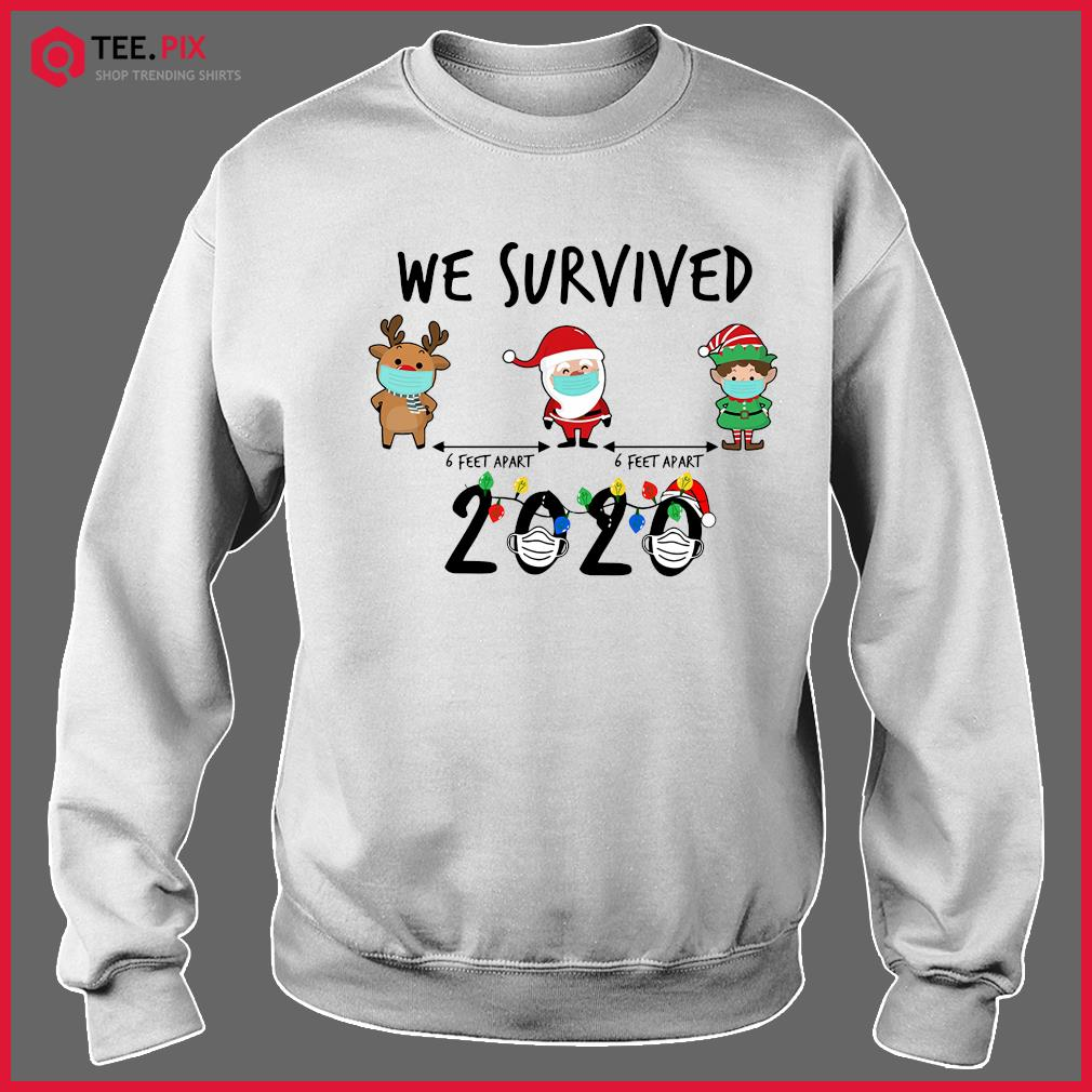 We Survived Face Mask Reindeer Santa Claus Elf 6 Feet Apart 2020 Merry Christmas Sweats Sweater